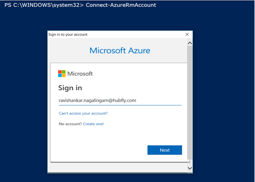 Connecting to Azure Portal