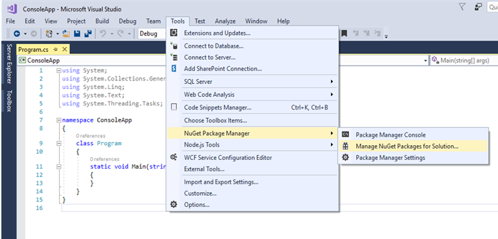 Manage NuGet Packages for solution