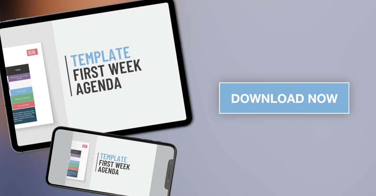 Applaud HR First Week Agenda Template download graphic