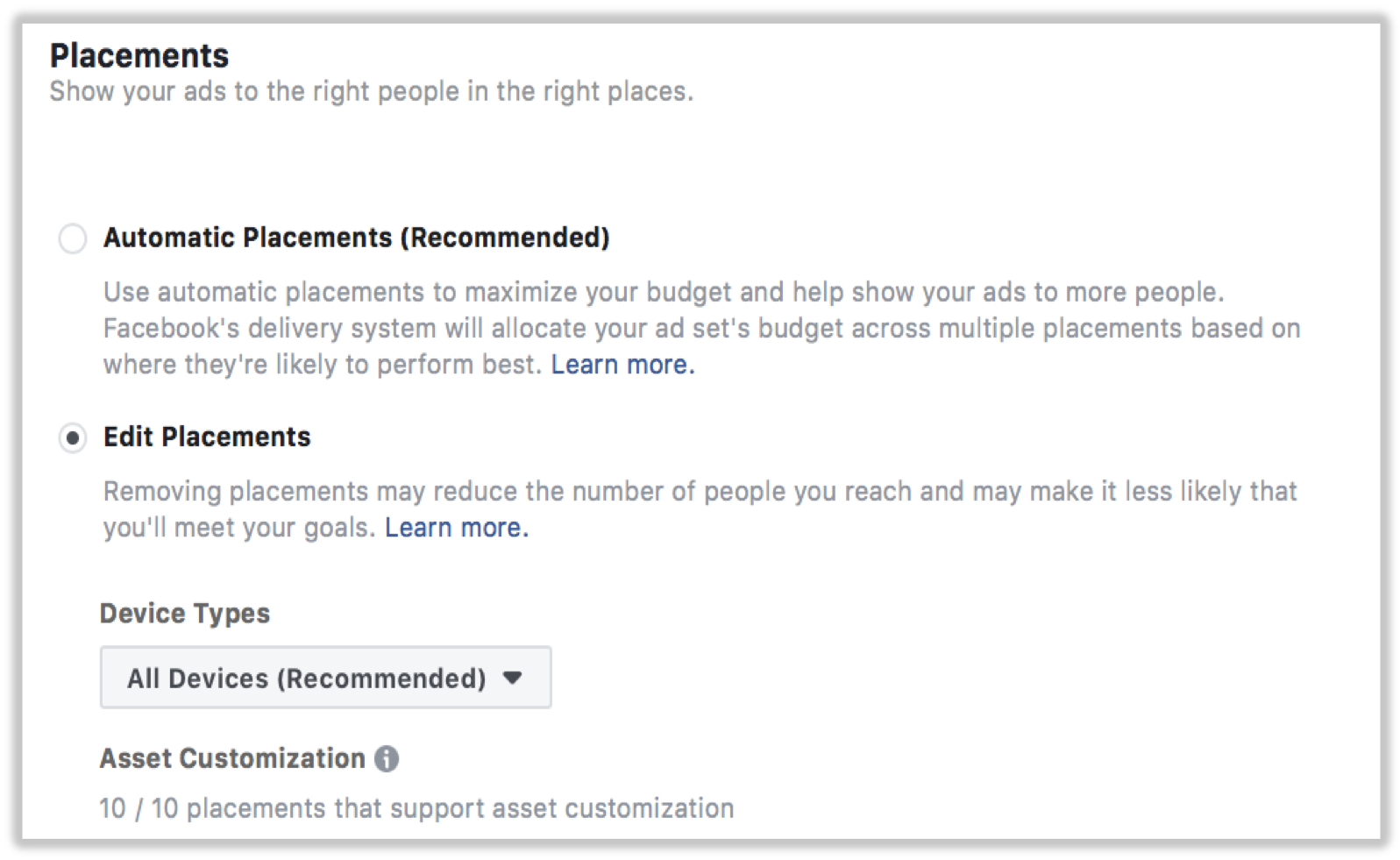 Diversifying your Facebook advertising placements like the audience network will lower your average CPC.