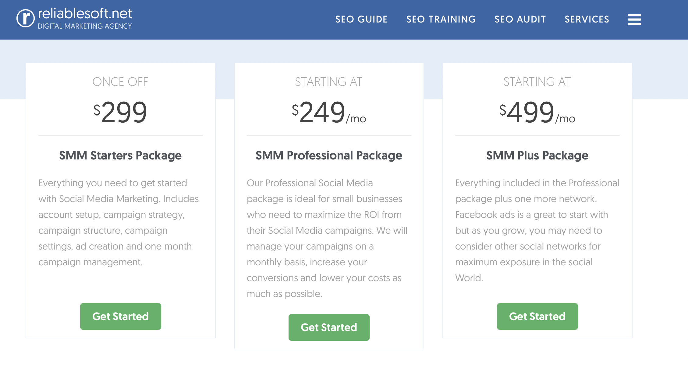 examples of social media marketing packages