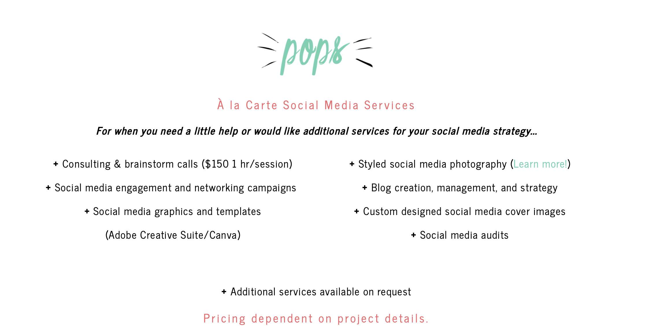 Bold and Pop's a la carte social media services