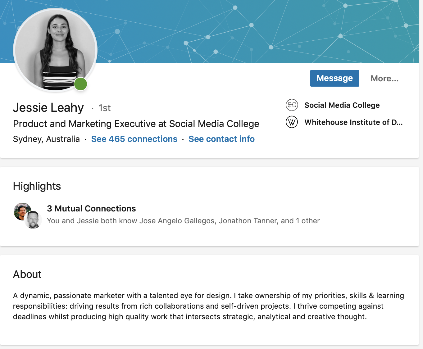 Examples of a fully optimised LinkedIn profile from Social Media College