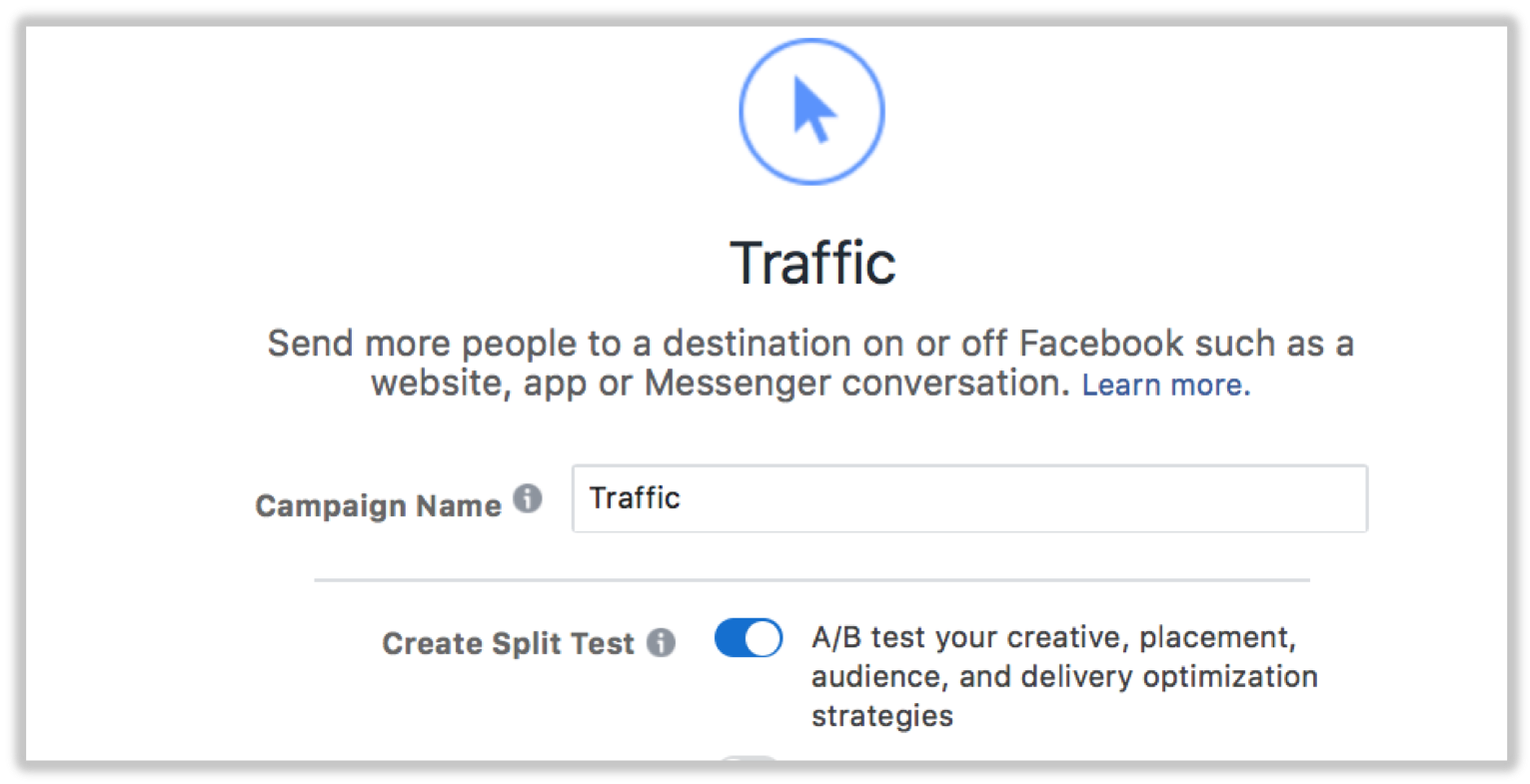 Creating a split test on Facebook will help you optimise your ad spend to the right audience.