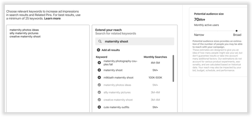 Tutorial for how to add keywords to Promoted Pin campaigns