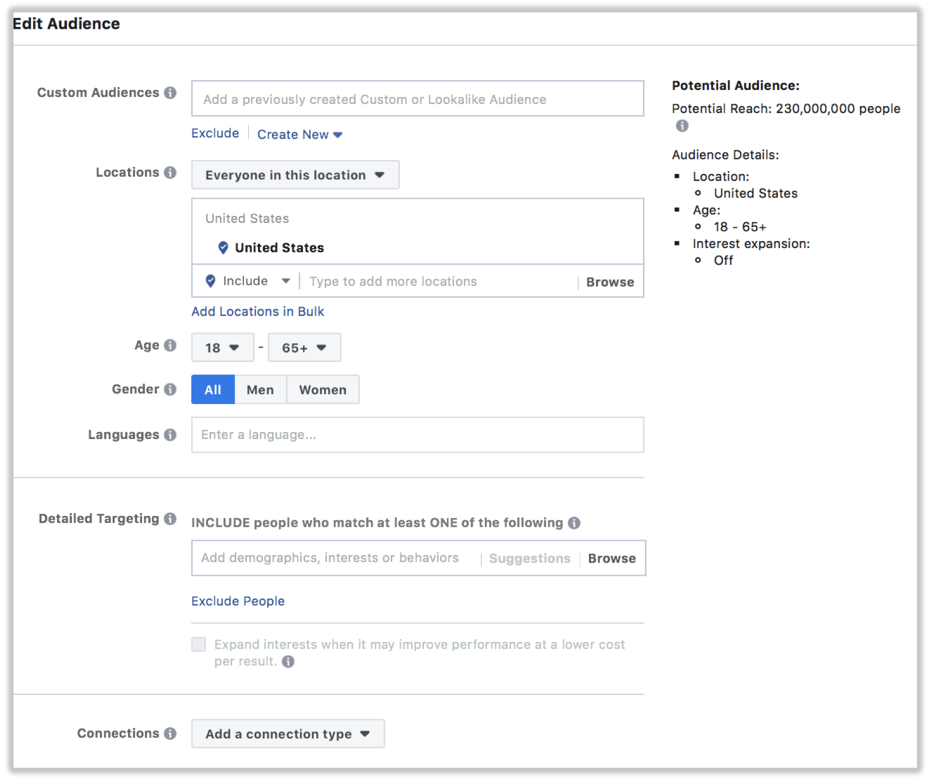 Facebook custom audiences. Selecting the right targeting for your audience.