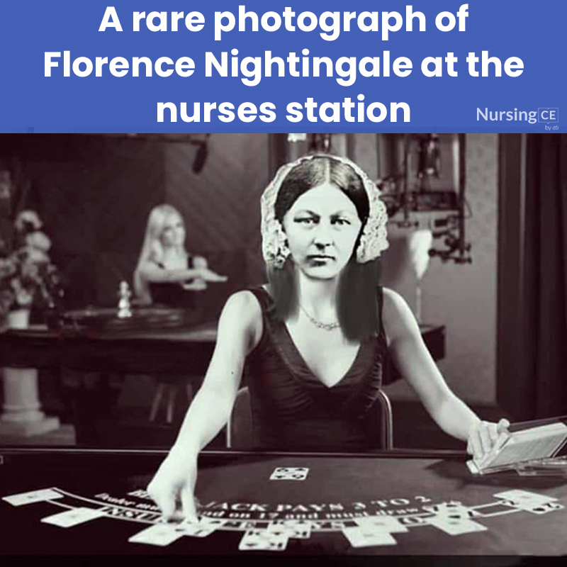 A rare photograph of  Florence Nightingale at the nurses station