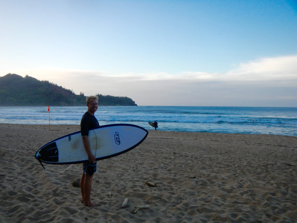 Ready to paddle out for sunset at Pine Trees.