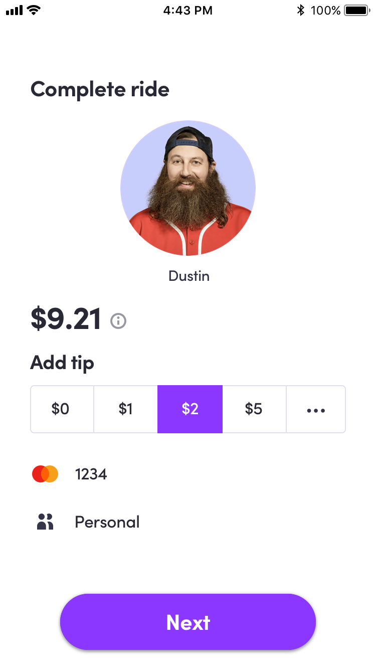 Lyft App - Rate & Pay