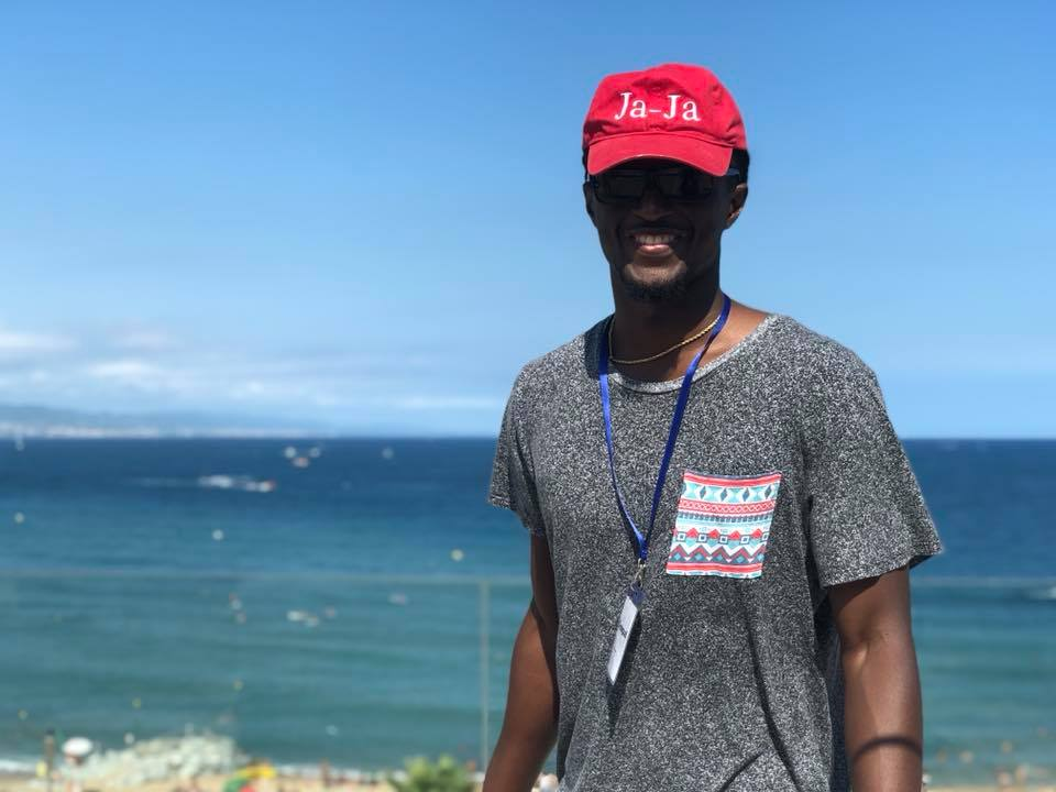 Kennedy Addo at the beachside in Barcelona