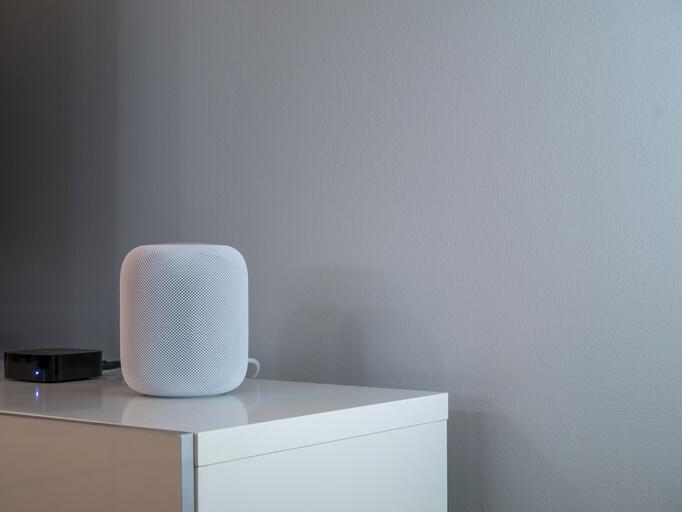Smart speaker on a desk
