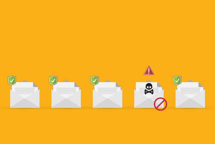 A line of email messages with one containing malware