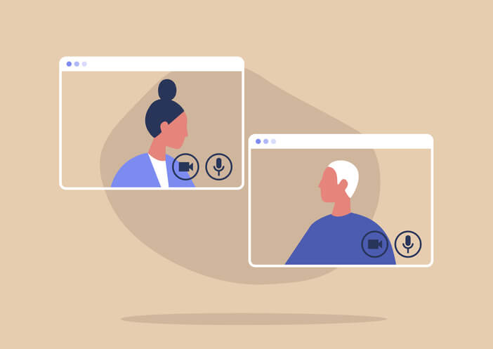 Two people video conferencing with each other