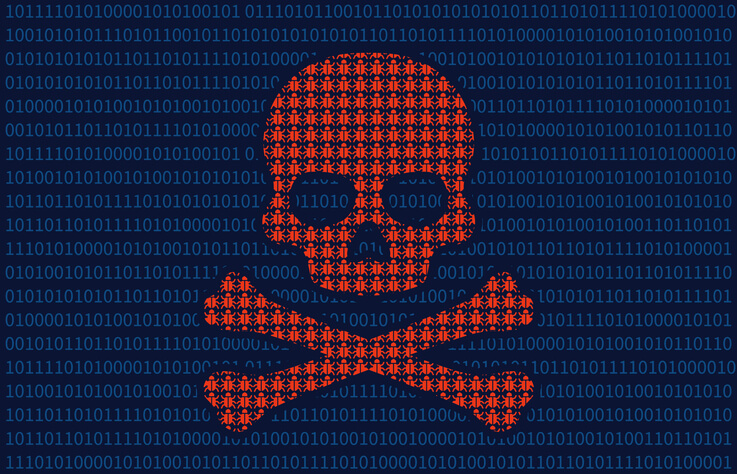 Skull and bones computer virus icon over code