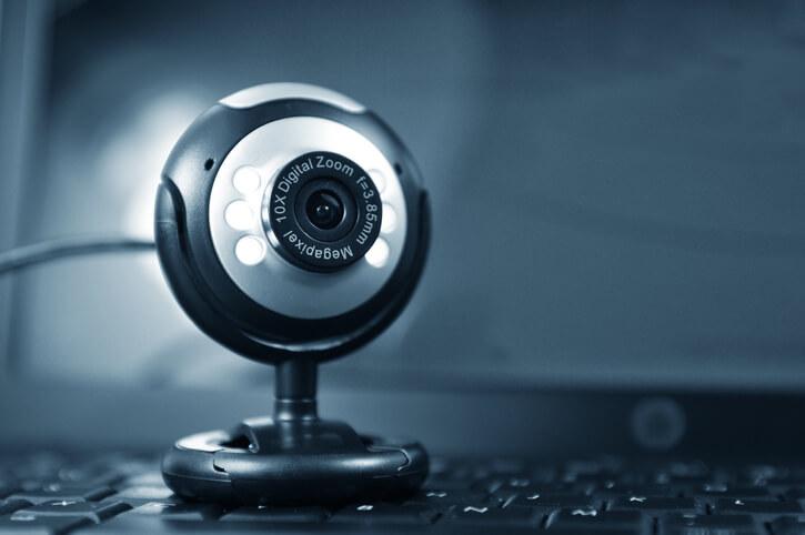 Webcam on a laptop keyboard