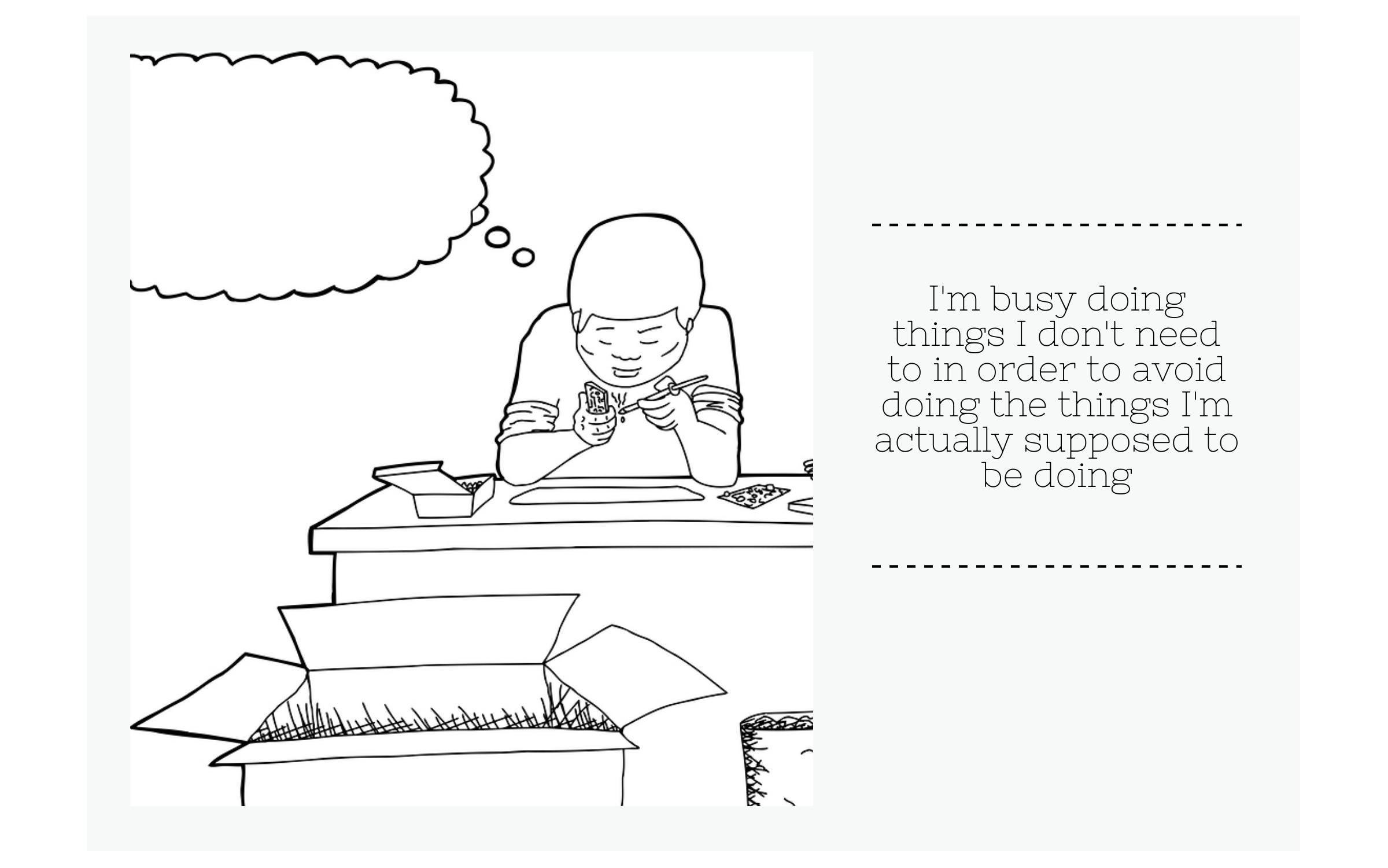 Avoiding tasks procrastination comic