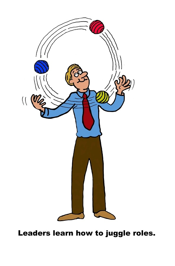 Leader learn how to juggle roles cartoon