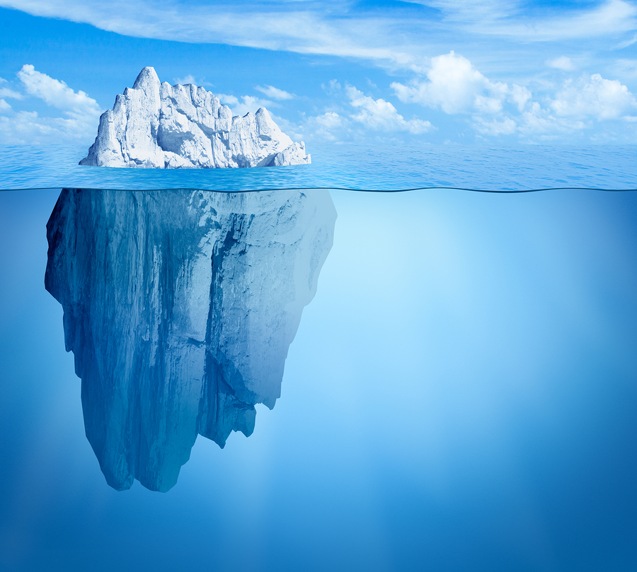 Tip of Iceberg-in-ocean-hidden below surface