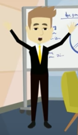 Animated I-style Ian with arms raised