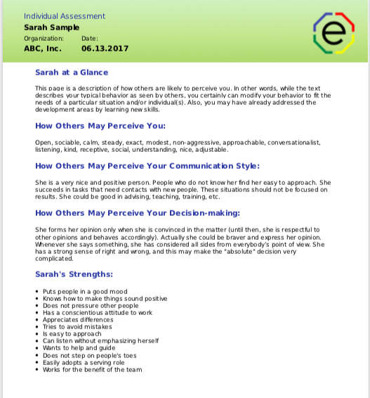 Extended DISC Individual Assessment At a Glance Section