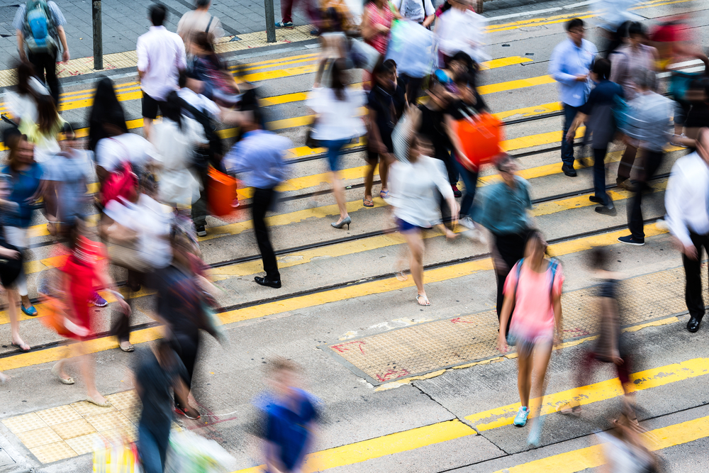 Fast-paced high stress people on Hong Kong Busy road