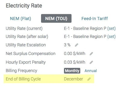 screenshot of Aurora showing where users can specify the end of the billing cycle