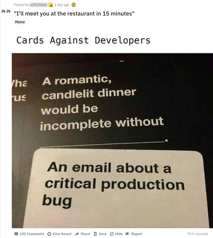 Cards against developers screenshot from Reddit