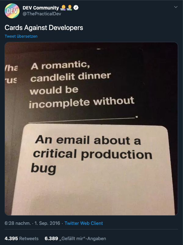 Cards against developers screenshot from Twitter
