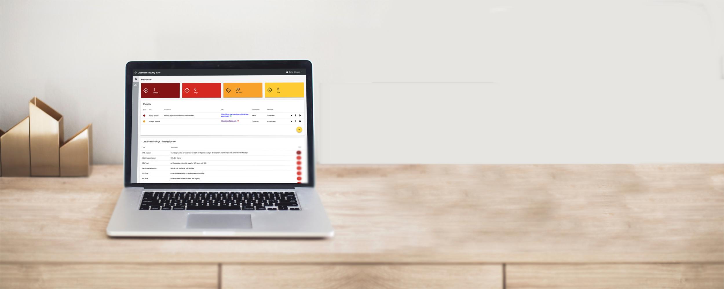 Chrashtest Security Vulnerability Assessment Tool showcased in a laptop screen