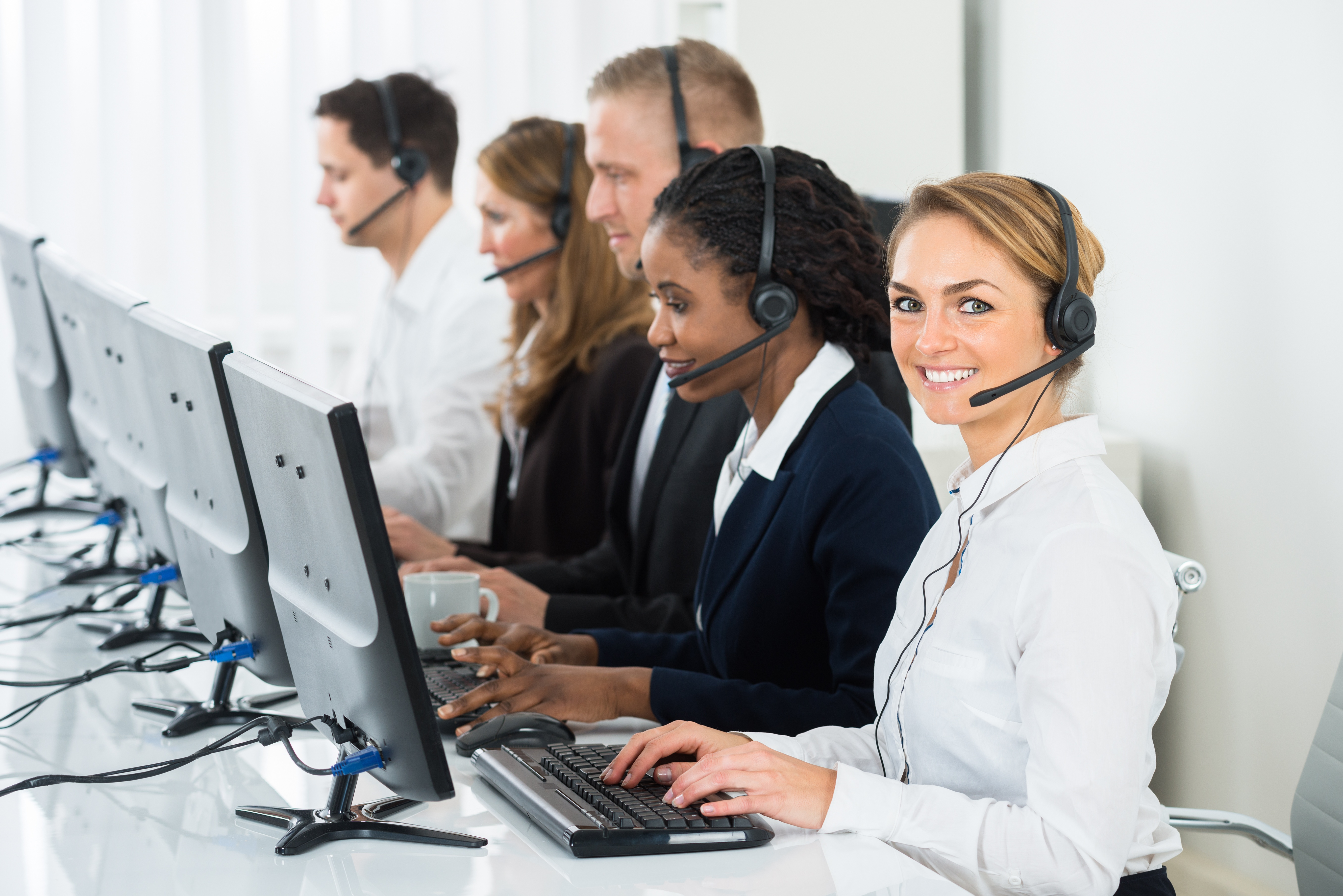contact center agents smiling