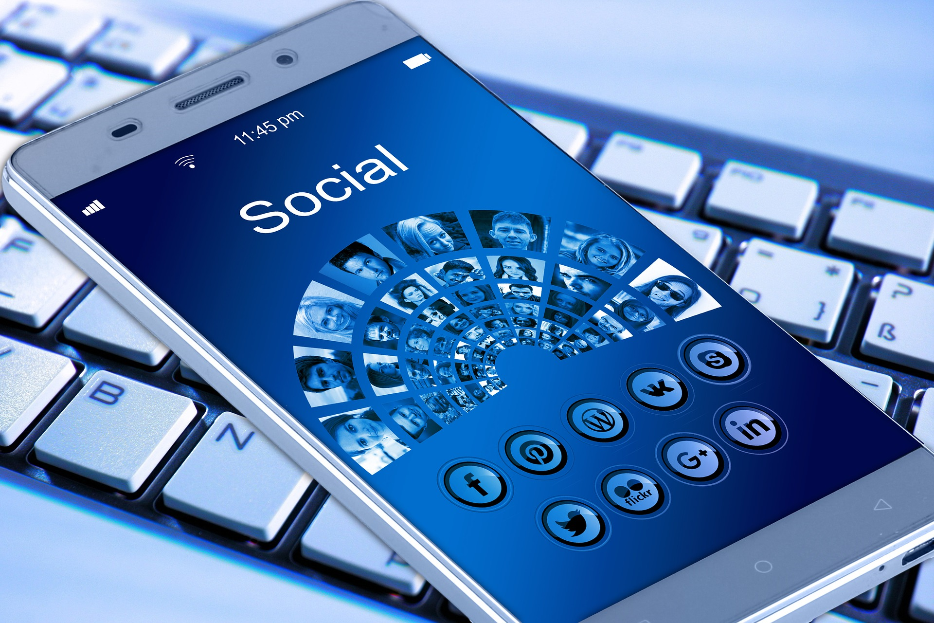 Image of a mobile device with social media.