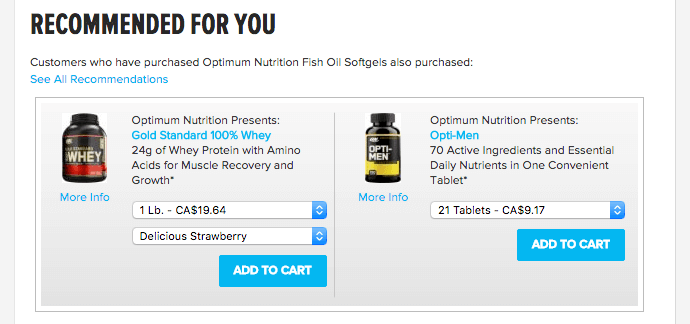 Bodybuilding.com recommended products cross-sell