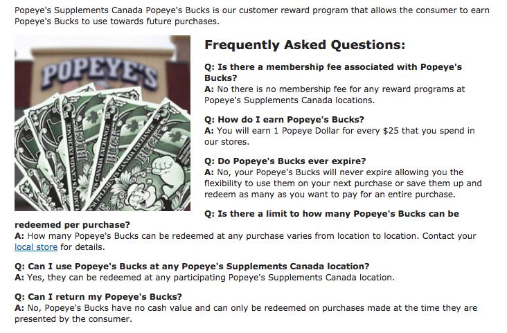supplements loyalty program example popeye's FAQ