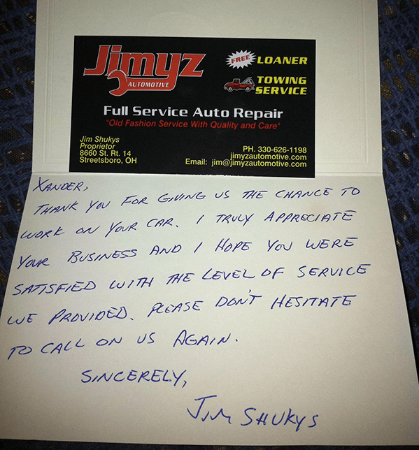 Jimyz Auto thank you note