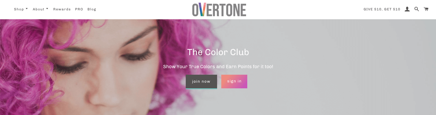 oVertone Color Club banner