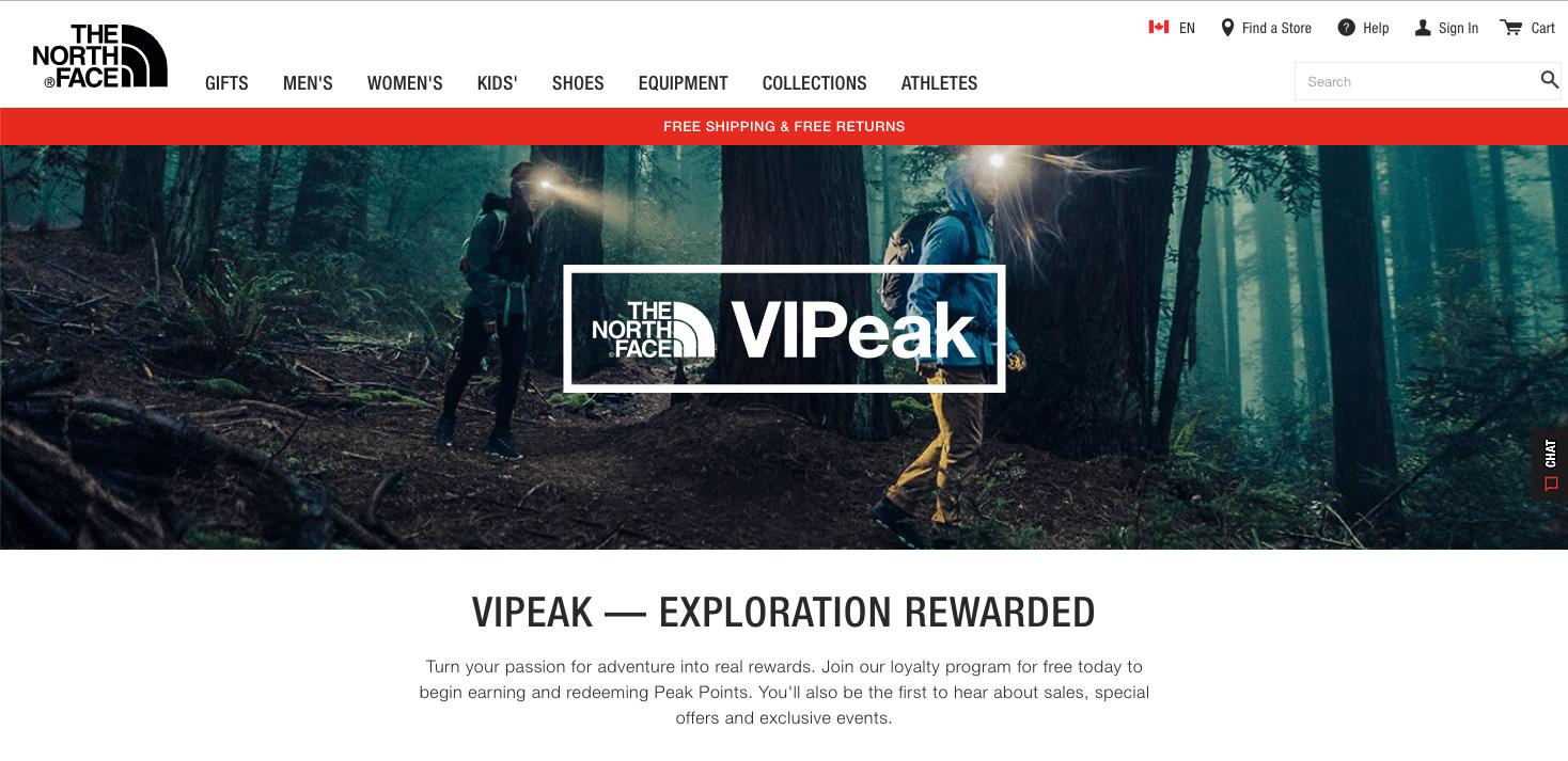 North Face VIPeak banner