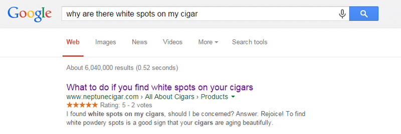 reciprocity cigar white spots research