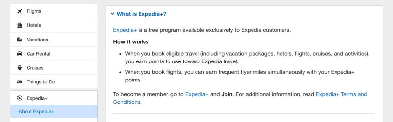 expedia+ FAQ description