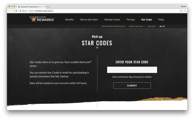 starbucks rewards pick up star codes