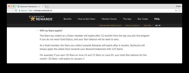 starbucks rewards stars expire