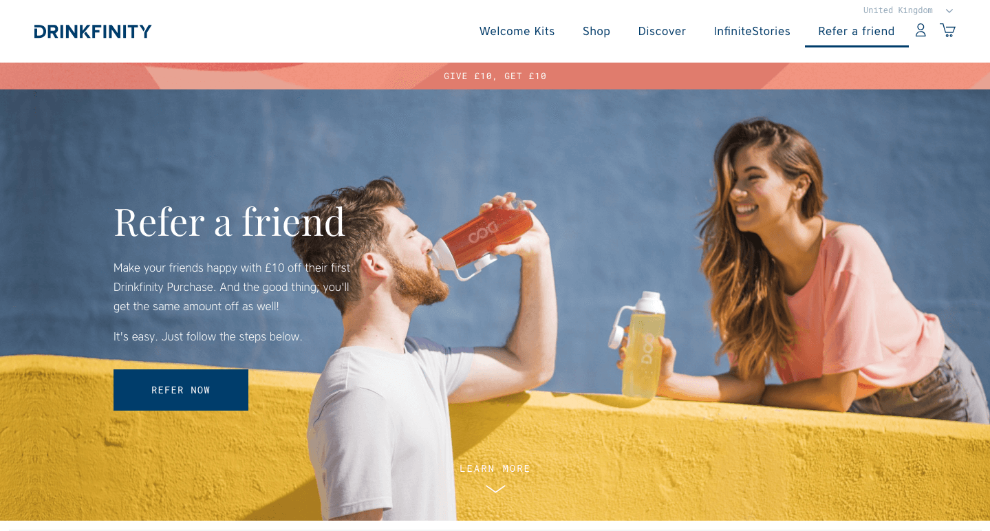 Drinkfinity's refer a friend explainer page