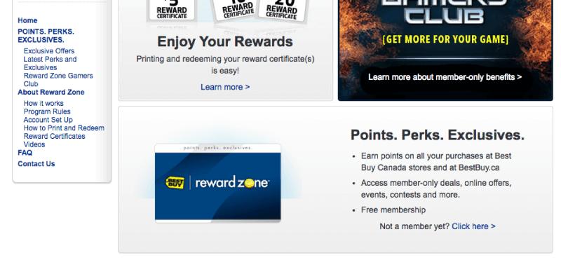 reward zone points perks