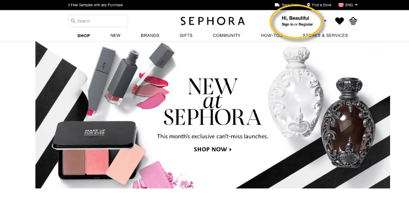 sephora VIB case study account homepage