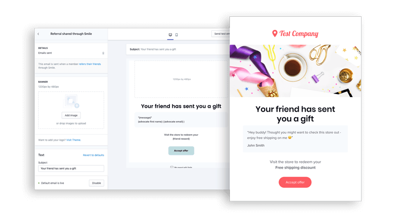 Smile email referral preview
