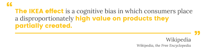 The IKEA effect is a cognitive bias in which consumers place high value on product they partially create
