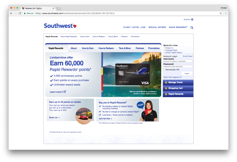 Southwest Rapid Rewards Page