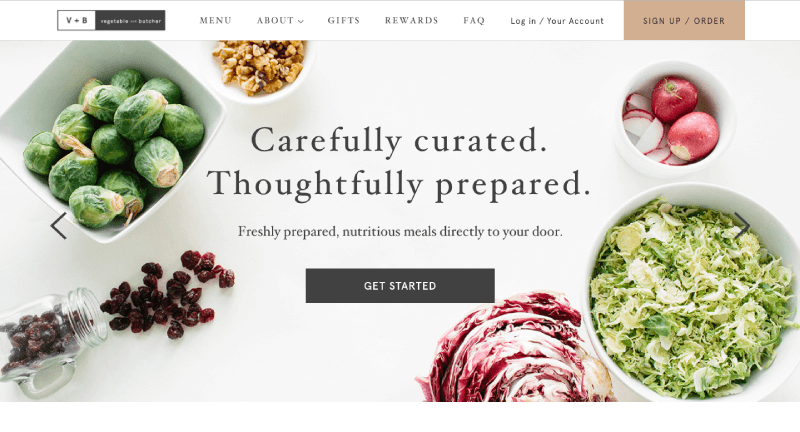 color psychology vegetable and butcher homepage