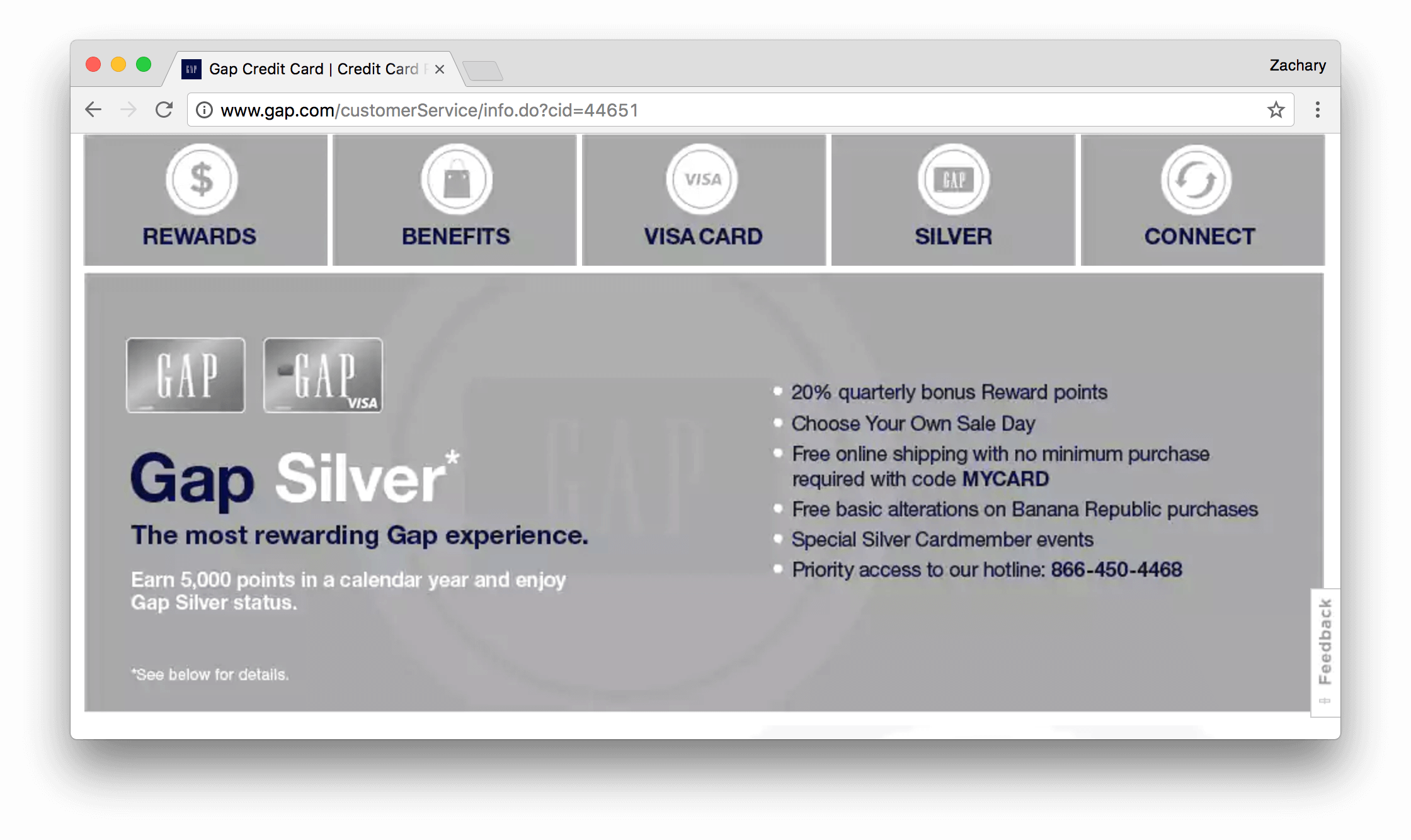 Gap Visa Card Silver Explainer page