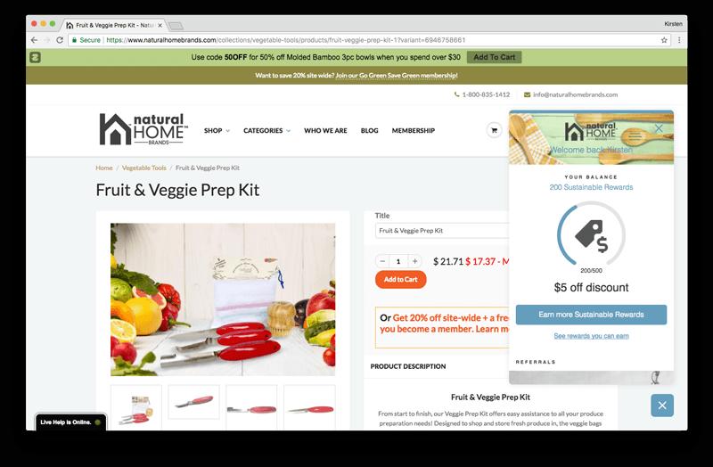 gamification for vip programs natural home rewards modal