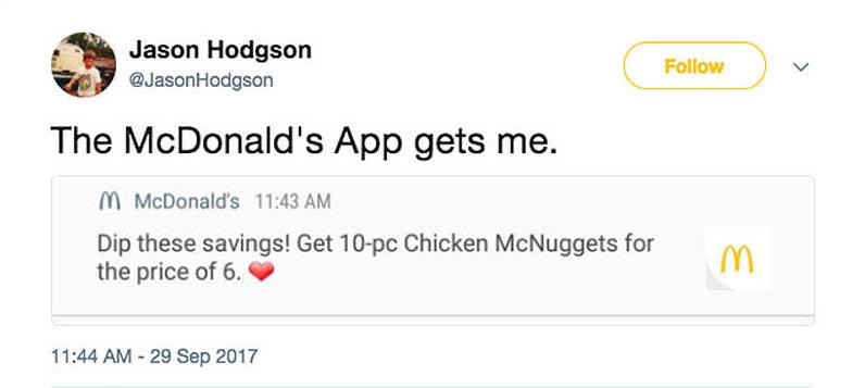 Mcdonalds App Tweet